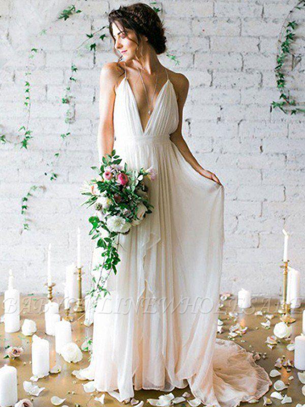 Sweep Train A-Line Sleeveless Ruffles Chiffon Spaghetti Straps Wedding Dresses