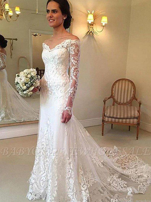 Court Train Applique Lace Mermaid Long Sleeves Off-the-Shoulder Wedding Dresses