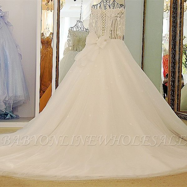 3/4 Sleeves Applique A-Line Ball Gown Off-The-Shoulder Bow Prom Dresses