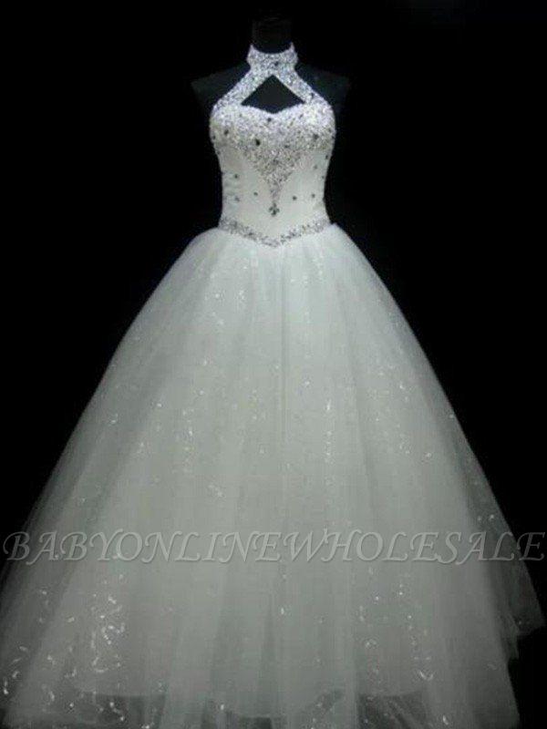 Sequin Ball Gown Sleeveless Floor-Length Beading Tulle Halter Wedding Dresses