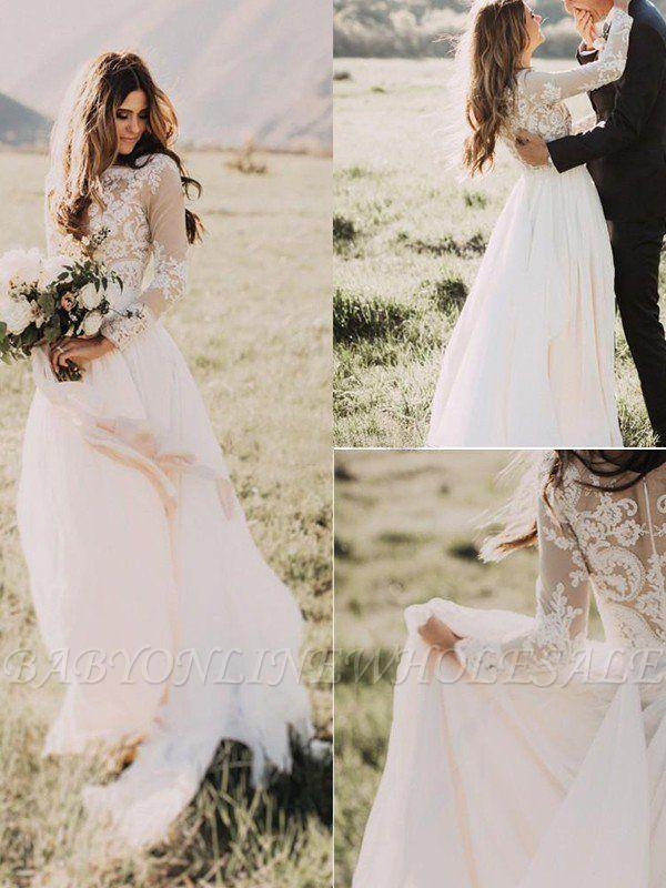 Manches longues -parole longueur appliques tulle une ligne robes de mariée scoop