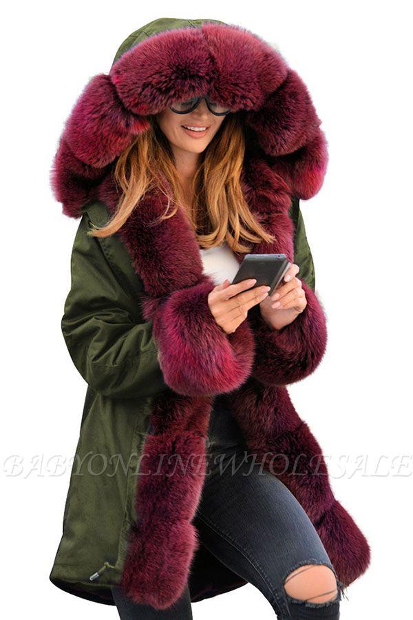 Winter Autumn Faux Fur Overcoat Hooded Parka Casual Jacket