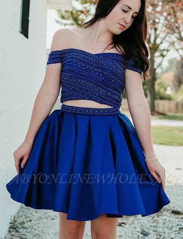 Two Piece A-Line Beading Off-the-Shoulder Mini Prom Dress
