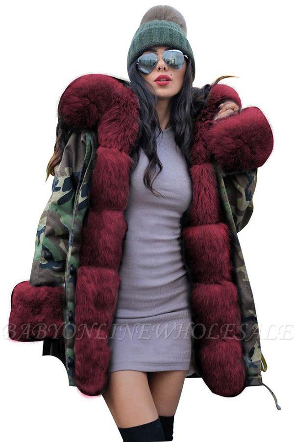 Beautiful Warm Winter Hooded Outwear Faux Fur Camouflage Long Sleeves