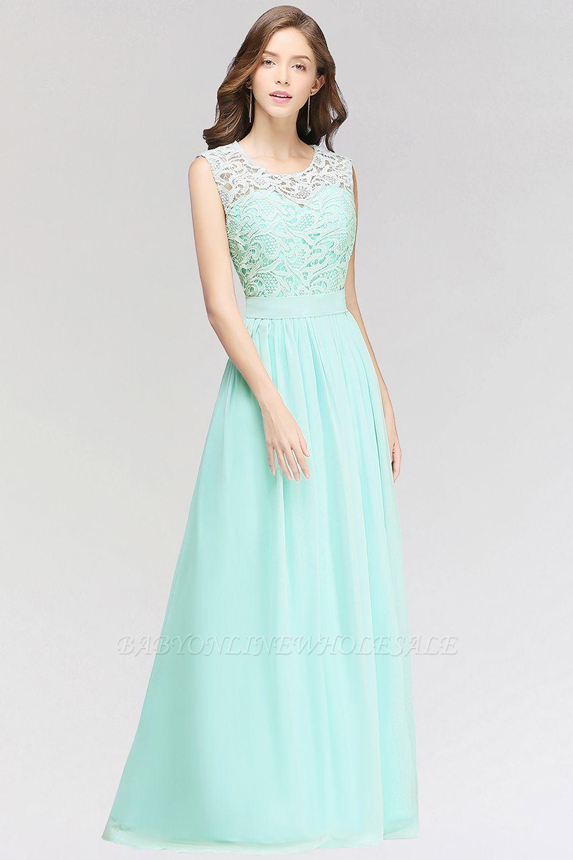 A-line Chiffon Lace Jewel Sleeveless Floor-Length Bridesmaid Dress with Ruffles