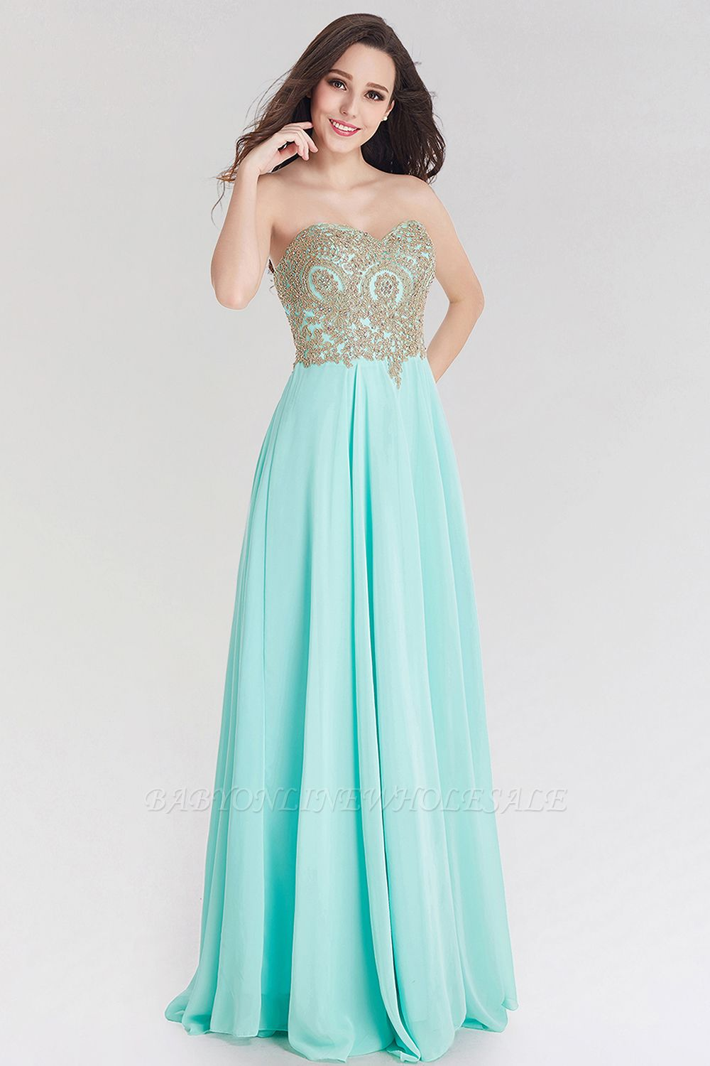 A-line Chiffon Strapless Sweetheart Sleeveless Floor-Length Bridesmaid Dress with Beadings