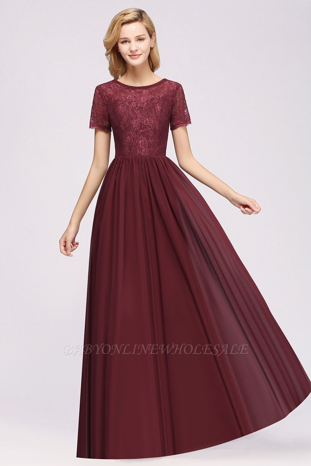 A-line Chiffon Lace Jewel Short-Sleeves Floor-length Bridesmaid Dress