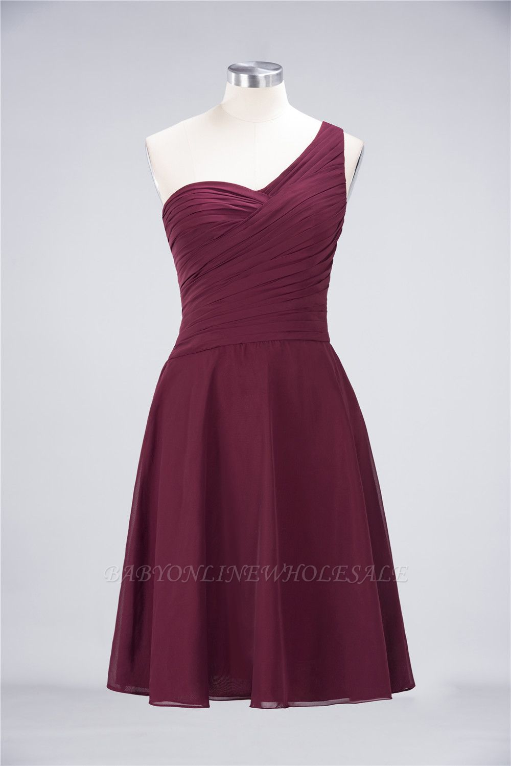 Chiffon A-Line One-Shoulder Sweetheart Sleeveless Short Bridesmaid Dress with Ruffles