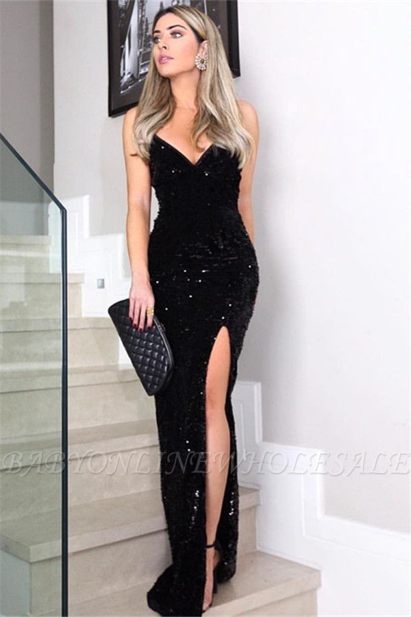 Chic Sheath Spaghetti-Straps V-Neck Sleeveless Long Prom Dress