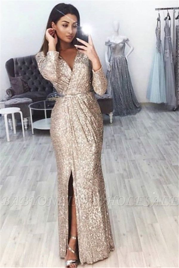 Sexy V-Neck Long Sleeves Front Slipt Mermaid Prom Dress BC0815
