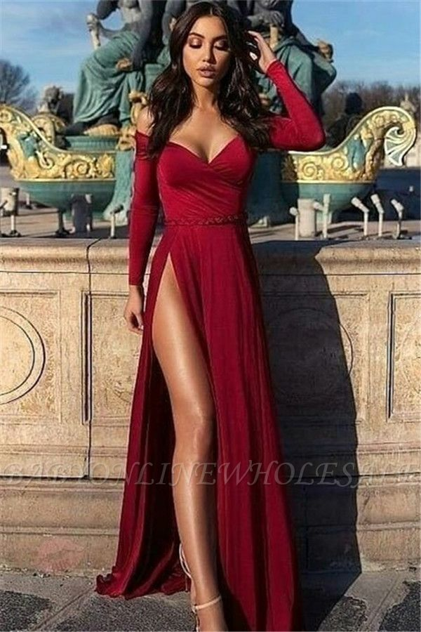 Charming Off-the-Shoulder V-Neck Long Sleeves Front Slipt Prom Dress