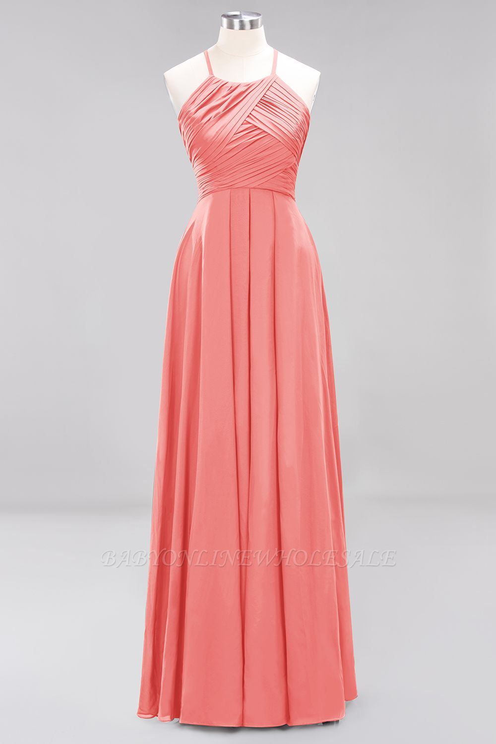 A-Line Chiffon Halter Ruffles Floor-Length Bridesmaid Dress