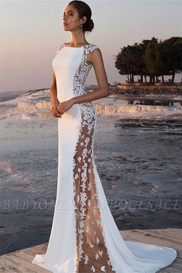 Bretelles élégantes sans manches autour du cou appliques robe de bal de sirène