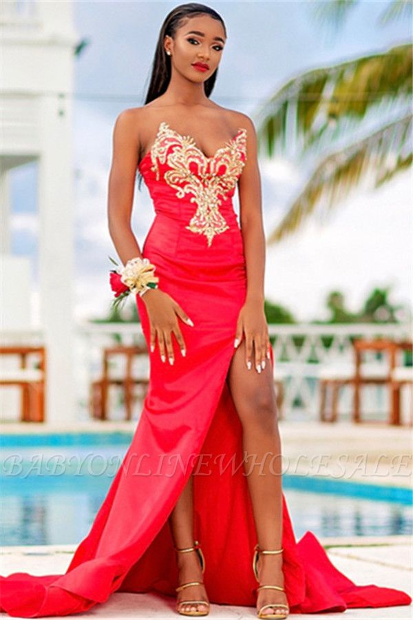 Impressionante Strapless mangas apliques frente Slipt Prom Dress