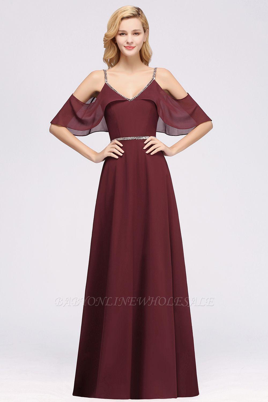Elegant A-line Chiffon V-Neck Spaghetti Straps Sleeveless Floor-Length Bridesmaid Dresses with Beading Sash