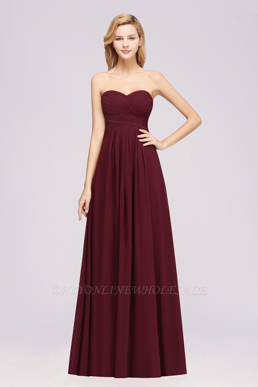 A-line Chiffon Sweetheart Strapless Ruffles Floor-length Bridesmaid Dress