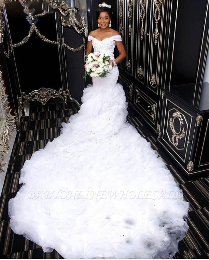 Gorgeous Off-the-Shoulder Lace Wedding Dress | Mermaid Ruffles Bridal Gowns