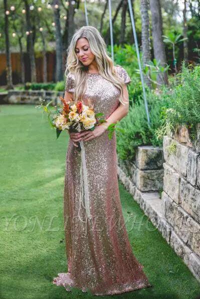 Wunderschönes Rosa Goldes Brautjungfernkleid   Jewel Brautjungfer Kleid Mit Ärmer Günstig