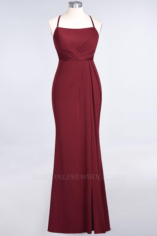 Spandex Lace Mermaid Spaghetti-Straps Sleeveless Long Bridesmaid Dress with Ruffle