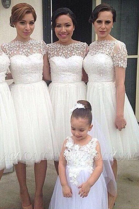 Manches courtes longueur au genou tulle robe de soirée de mariage pas cher en dentelle courte robe de demoiselle d'honneur