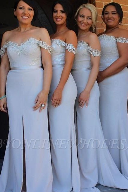 Off the Shoulder Lace Split Bridesmaid Dress Simple Plus Size Wedding Party Dress