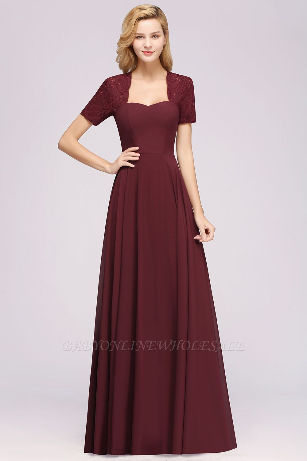 A-Line Chiffon Square Short Sleeves Bridesmaid Dress with Ruffle