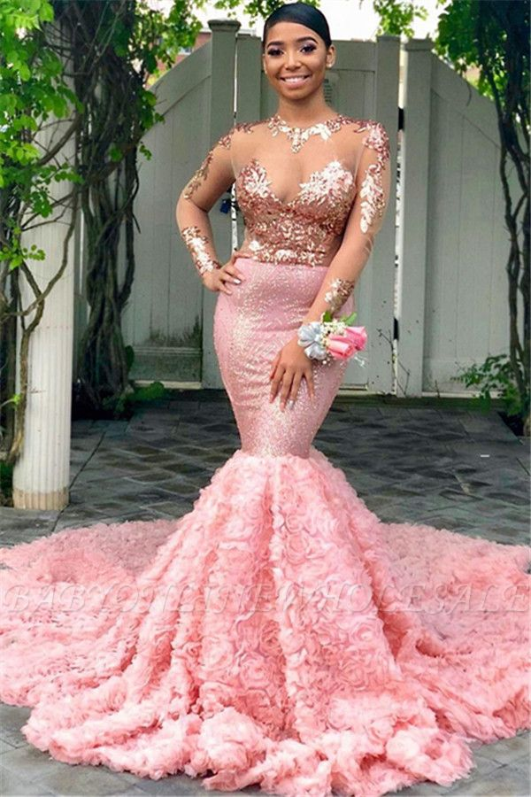 Beautiful Round Neck Sequins Mermaid Long Sleeves Tulle Prom Dresses