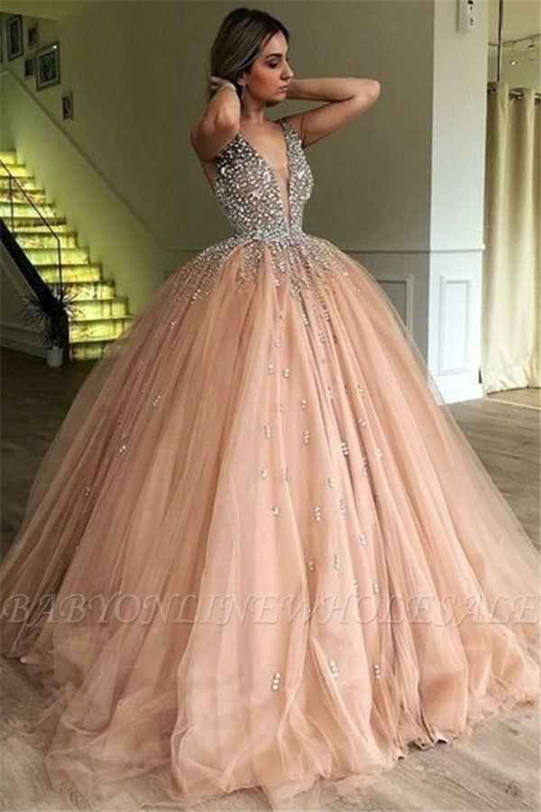 Chic V-Neck Straps Sleeveless Rhinestones Tulle Ball Gown Prom Dresses