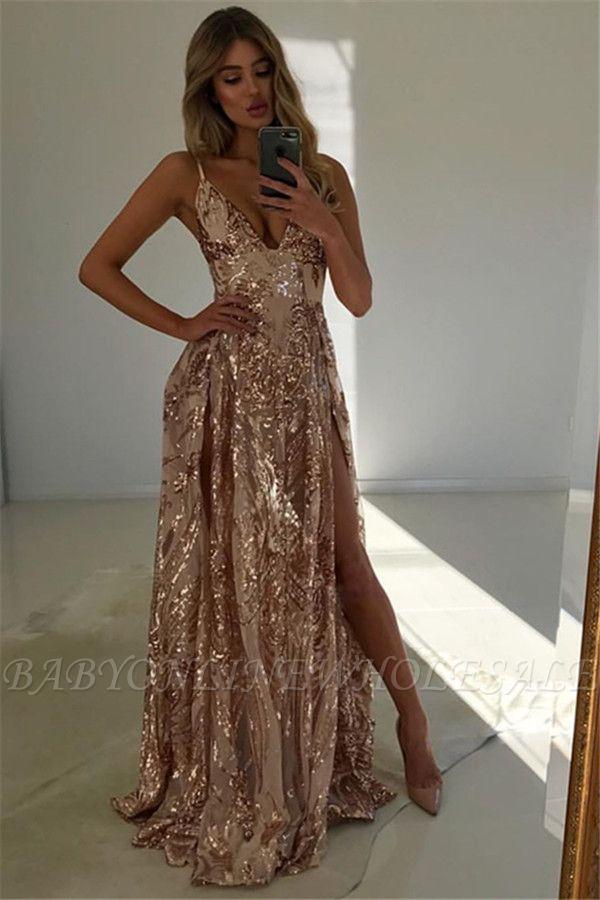 Stunning V-Neck Spaghetti Straps Front Split A-Line Sleeveless Floor-Length Prom Dresses