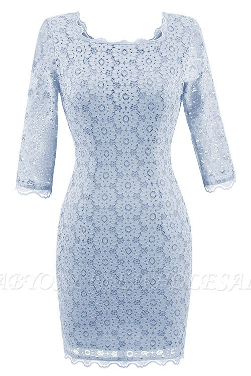 Gray Half Sleeve Round Neck Lace Dress