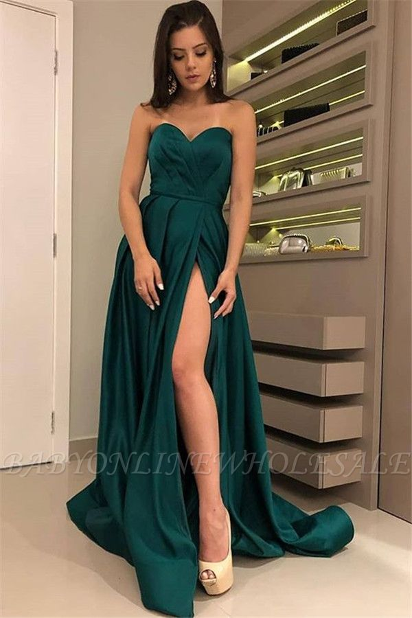 Chic Strapless Front Split Sleeveless Floor-Length A-Line Prom Dresses