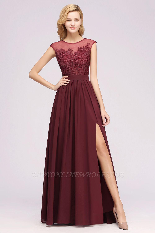 A-ligne en mousseline de soie dentelle bijou manches rez-de-longueur robes de demoiselle d'honneur avec des appliques