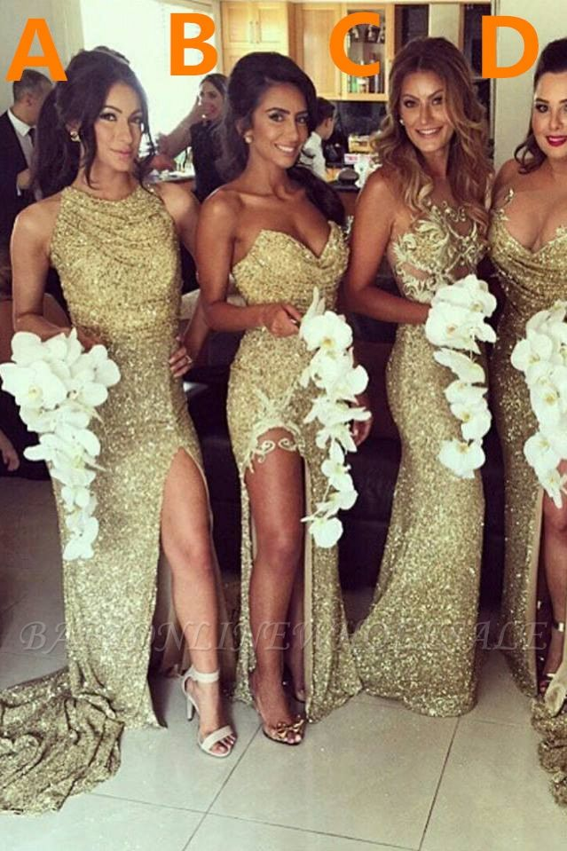 Sexy Gold Sequins Bridesmaid Dresses Side Slit Sparkly Wedding Party Dress BO8128