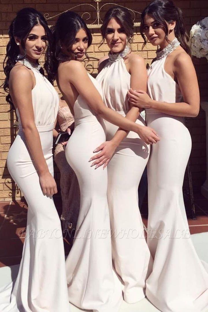 Elegant Halter Mermaid Bridesmaid Dresses | Sexy Ruched Long Wedding Party Dresses
