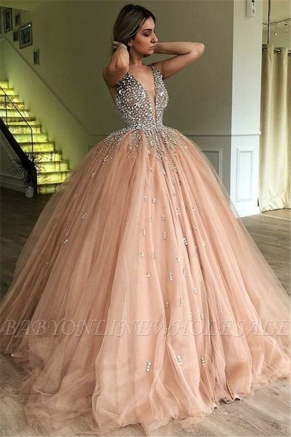 Chic V-Neck Straps Sleeveless Rhinestones Tulle Ball Gown Prom Dresses