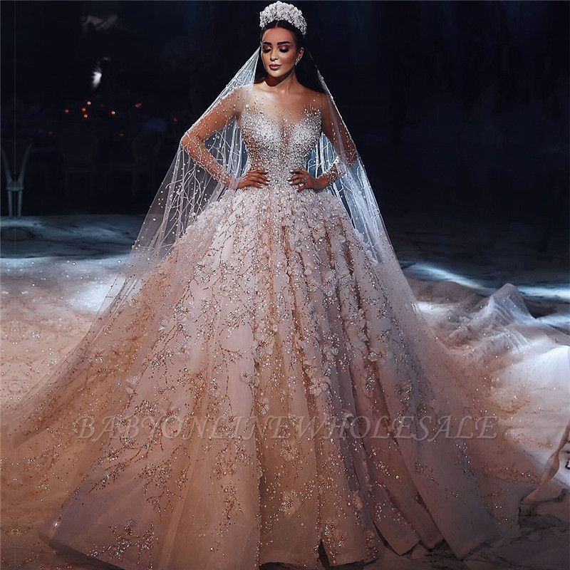 Luxury Beading Floral Bridal Gowns Sheer Neck Long Sleeves Ball Gown Wedding Dresses Babyonlinewholesale