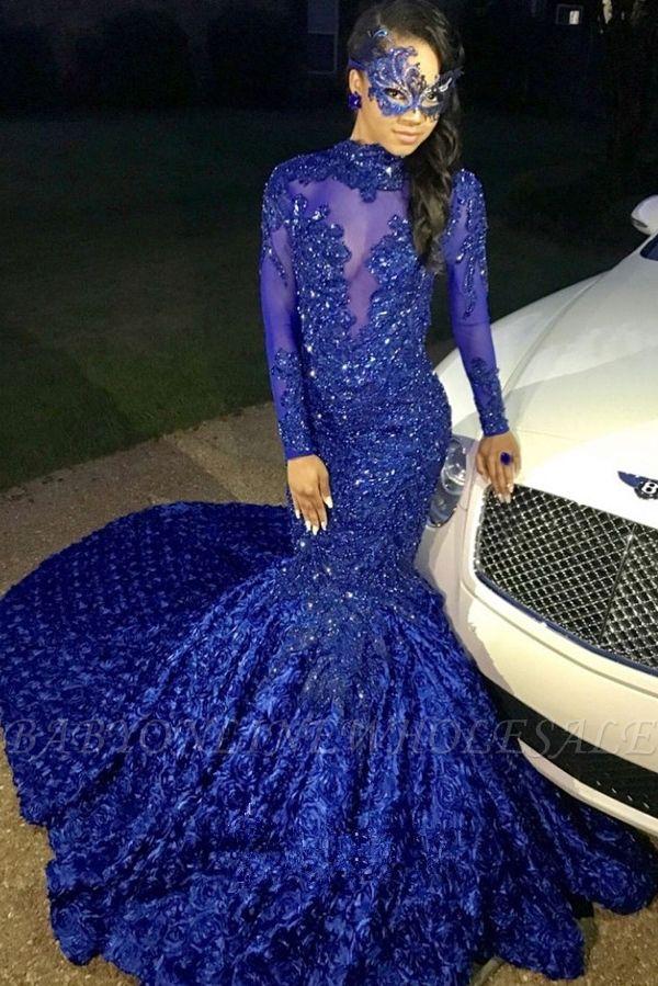 Sexy Blumen Royal Blue Abendkleid | Langes Abendkleid