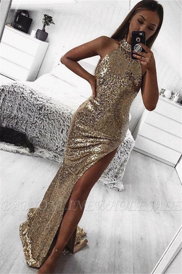 Gold Sheath Halter Sleeveless Side Slit Sequins Sexy Prom Dresses