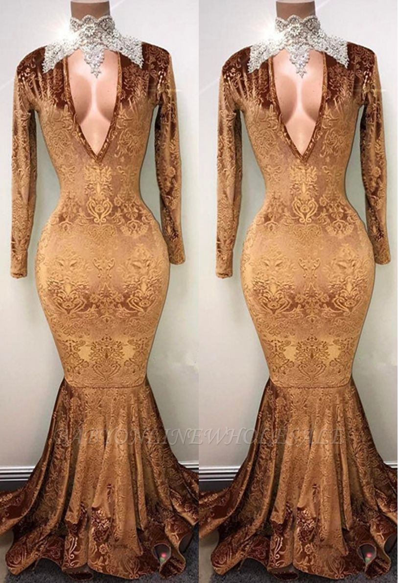 Gold-V-neck Mermaid Prom Dress, Lace Evening Gowns On Sale