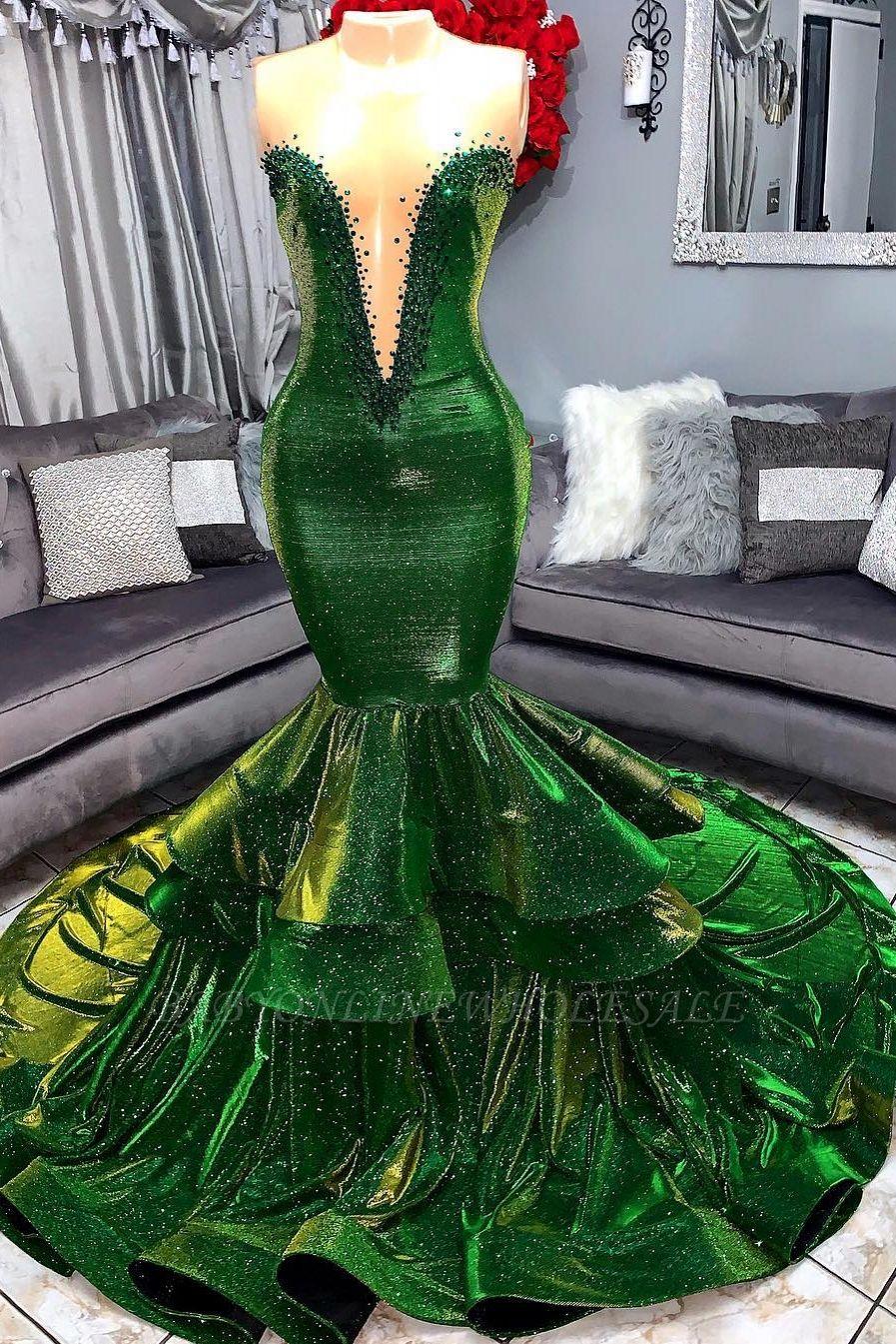 grün wunderschöne rüschen meerjungfrau ballkleider | sexy schatz appliques  lange abendkleider