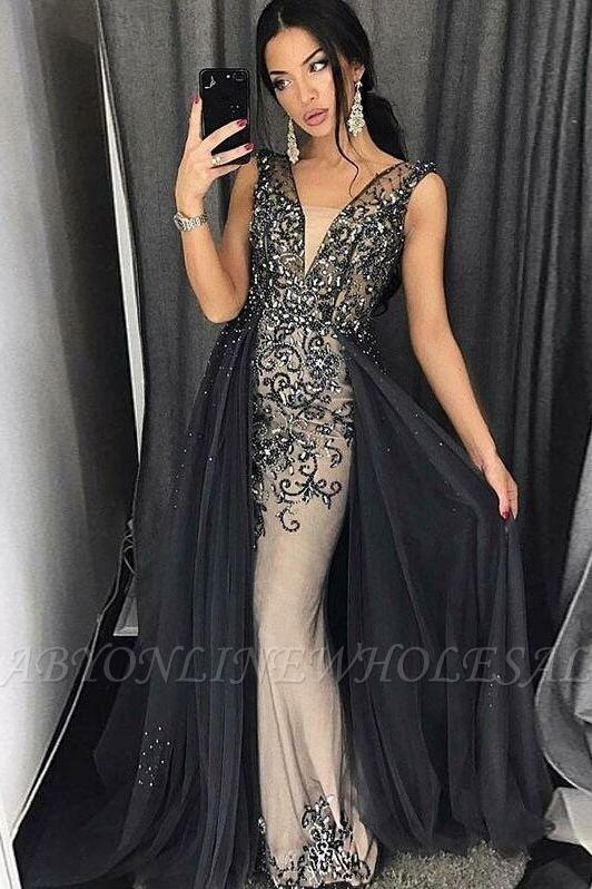 Elegant Mermaid Tulle Beading V-Neck Detachable Prom Dress   Evening Dress