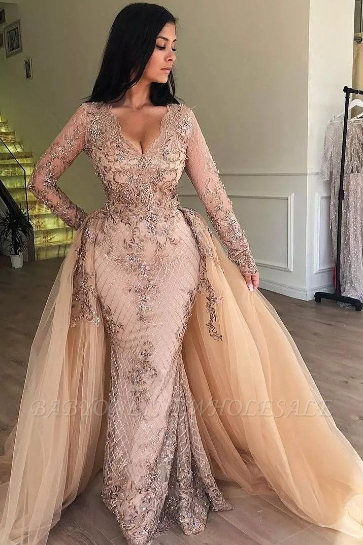 Mermaid V-neck Long Sleeves Appliqued Prom Dresses with Detachable Skirt