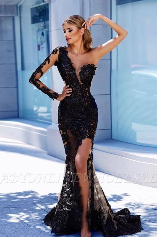 Modern Black Lace One-Shoulder Prom Dress | Front Split Evening Gown BA9571
