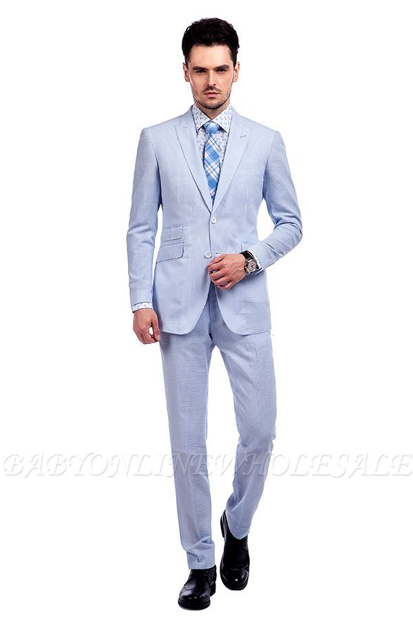 Blue Stripes Single Breasted Wedding Groom Tuxedos | Peaked Lapel Two Buttons Tailor Made Causal Suit for Men