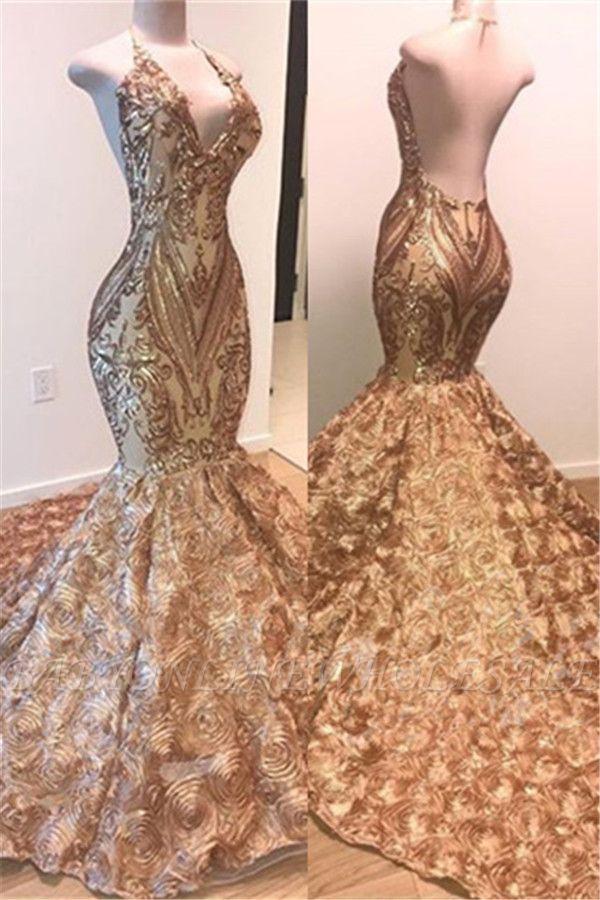 Vestido de fiesta sin mangas de lentejuelas doradas glamorosas | Vestidos de noche de sirena brillante con flores abajo