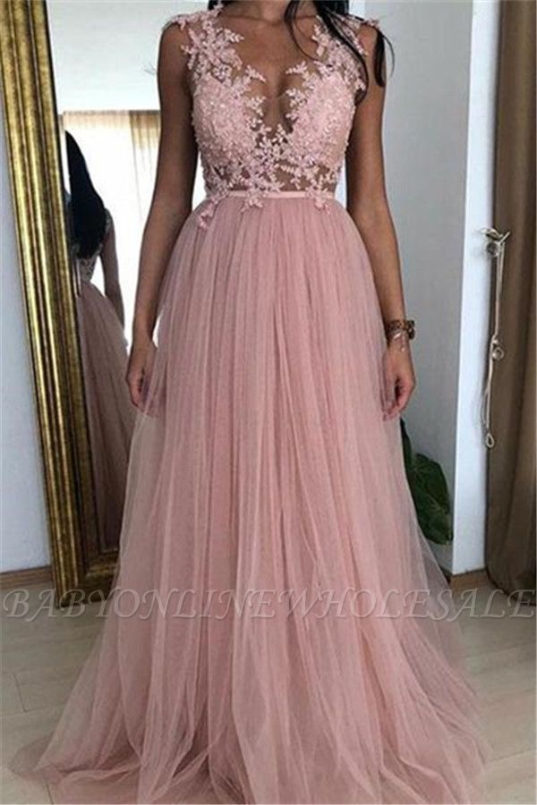 Elegant Pink A-line Sleeveless Tulle Applique Prom Dresses