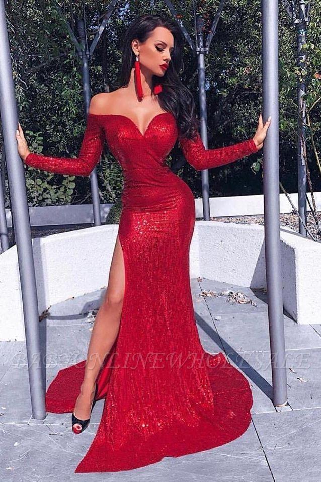 Charming Long Sleeves Sheath Front Split Prom Dress