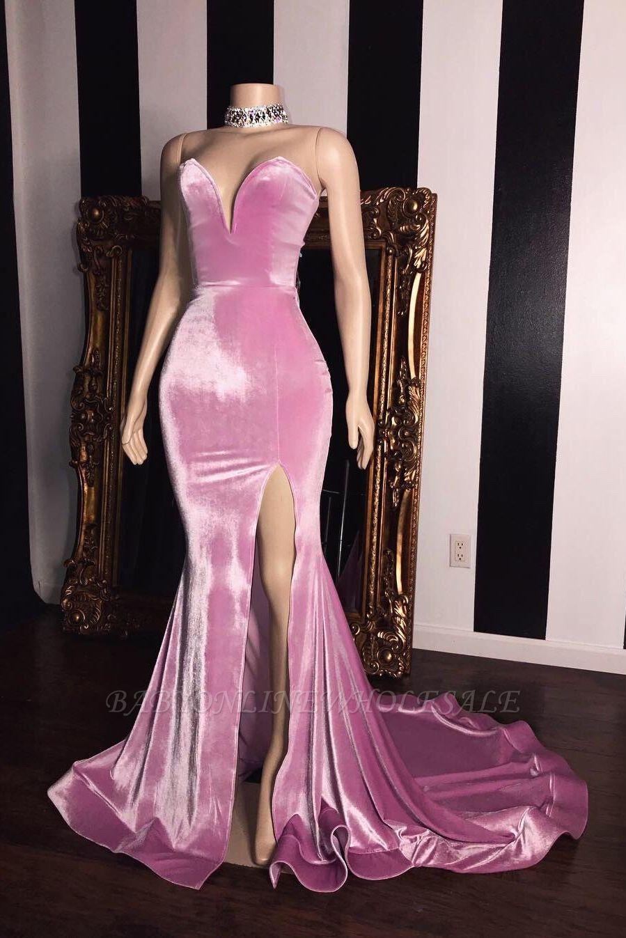 Vestidos de fiesta de novia de terciopelo rosa | Elegante Side Slit sirena largos vestidos de noche