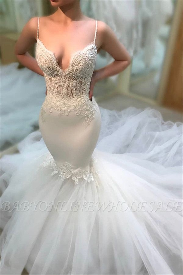 Elegant Spaghetti-Straps Mermaid Wedding Dresses | Cheap Appliques Sleeveless Lace Tulle Bridal Gowns