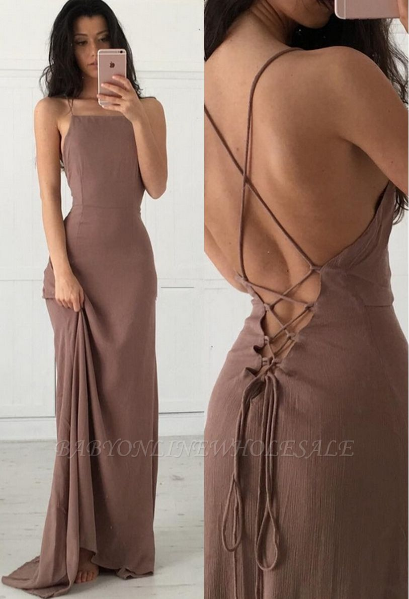 Sexy Open Back Party Dresses Spaghetti Straps Lace Up Summer Evening Gown BA3934